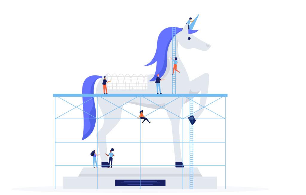 people building a unicorn