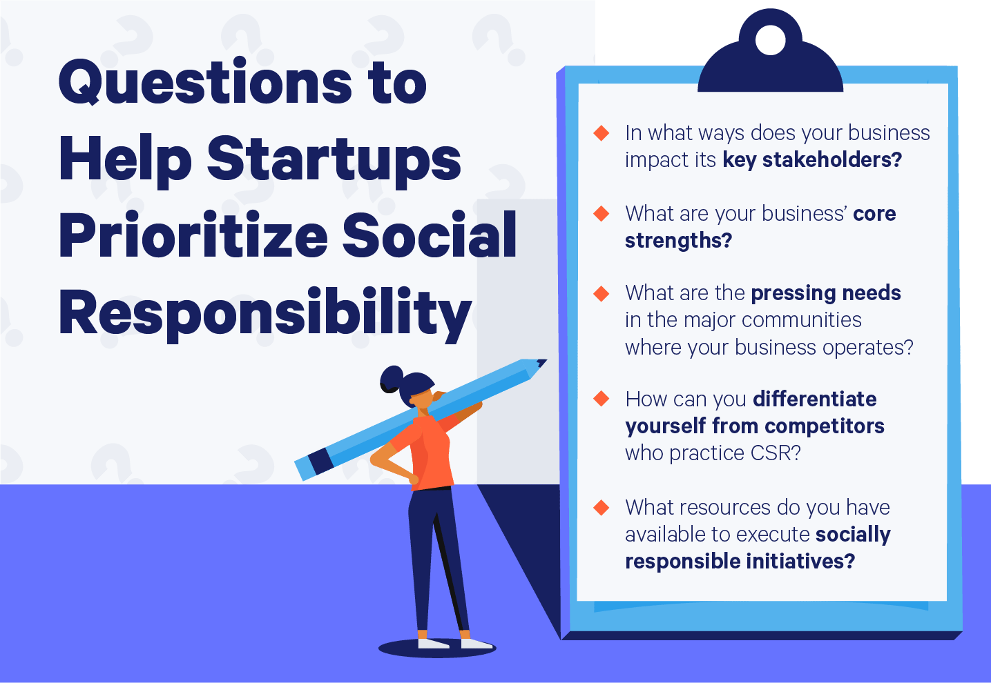 clipboard with questions to help startups prioritize social responsibility